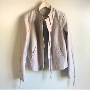 Free People Tan Faux Leather full zip jacket